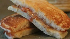 Peanut Butter and Jelly Pancake Sandwiches.