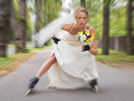 Runaway bride on roller skates