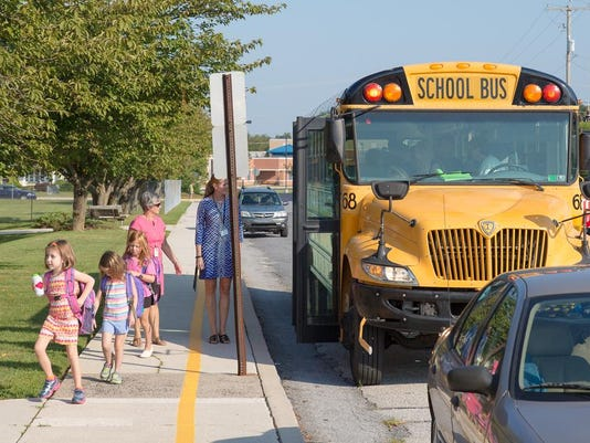 Littlestown Area School District elementary students board the bus for the first day of school Aug. 24.