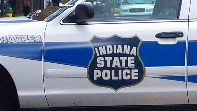 Decal on side of Indiana trooper's car.
