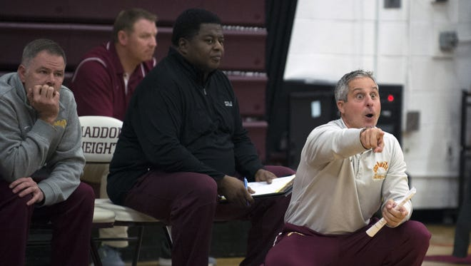 Haddon Heights coach Mike Ricci, right, is one victory away from his 300th career win. He'll get a chance at earning the historic win when the Garnets take on Moorestown in the first game of the Cherry Hill East Invitational on Saturday.