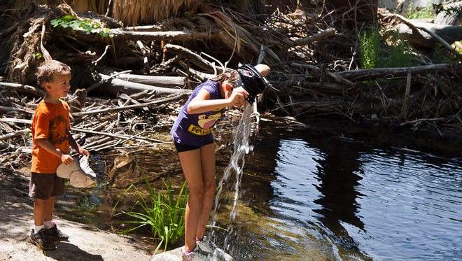 Anika Davis and her brother enjoy the water of Andreas Creek in this 2011 file photo taken in Andreas Canyon, the ancestral home to the Paniktum Clan of the Agua Caliente Band of Cahuilla Indians.