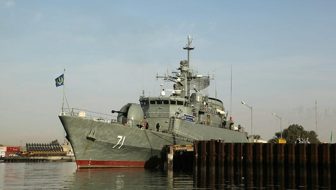 A picture taken on February 21, 2009 shows Iranian warship Alvand in the Gulf.
