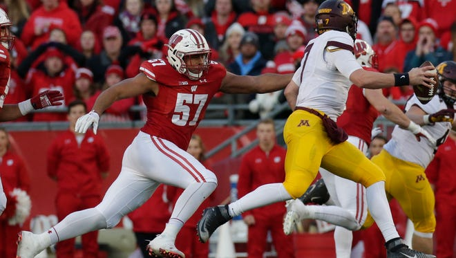 Wisconsin defensive end Alec James (left), who leads UW linemen in sacks, expects to play Jan. 2 when the Badgers meet Western Michigan in the Cotton Bowl.