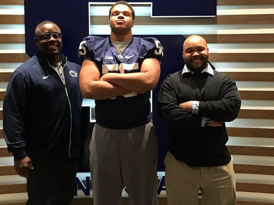 Incoming defensive tackle P.J. Mustipher (middle) is developed enough to possibly contribute as a true freshman this fall. He's a four-star recruit from Maryland.