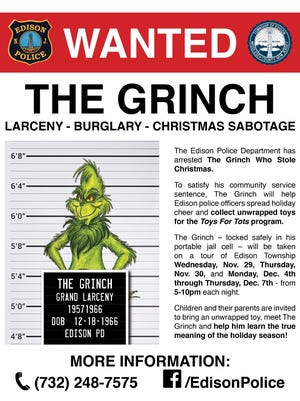 """Edisonpolice officers """"caught"""" the Grinch green-handed as he tried to steal Christmas from a township home. Now, the infamous Dr. Seuss character must do community service, spreading holiday cheer throughout thetown."""
