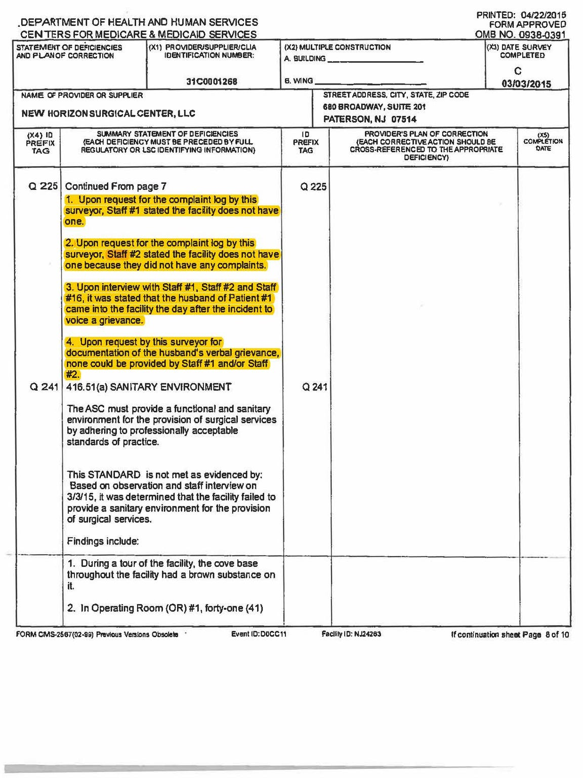 A page from the complaint report by state Health Department