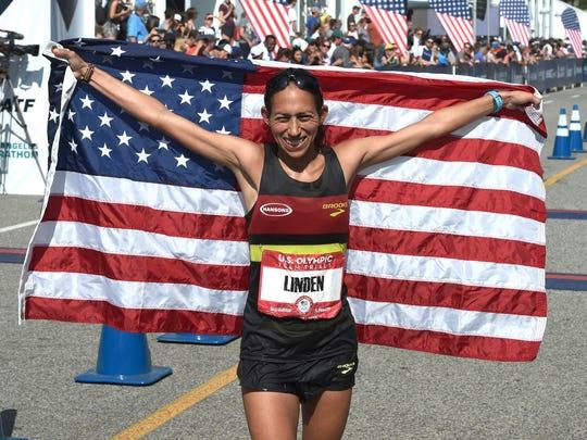Desiree Linden from Washington, Michigan celebrates