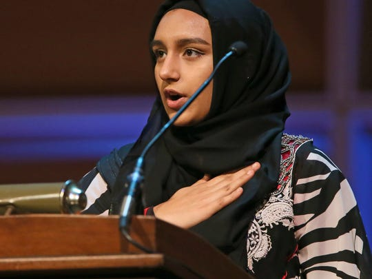 Samawia Akhter, a ninth-grader at Salam School, led the Pledge of Allegiance.