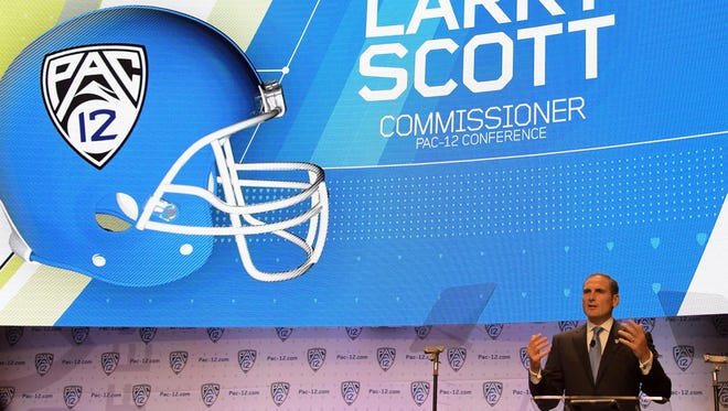Pac-12 commissioner Larry Scott speaks during Pac-12 media day at Hollywood & Highland.