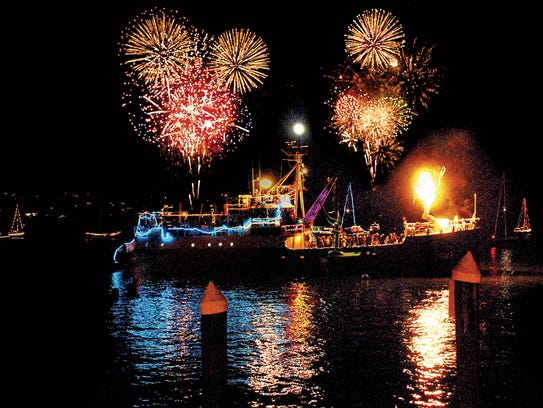 Sausalito boasts a lighted boat parade with fireworks