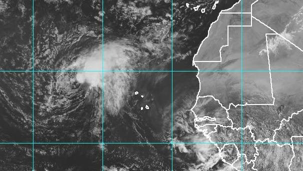 Tropical Storm Karl is moving west toward the Leeward Islands in the Caribbean.