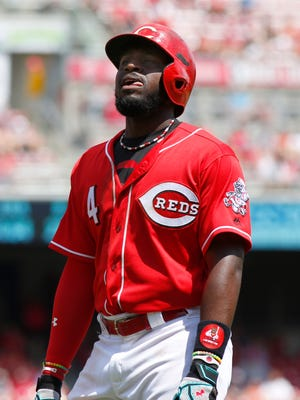 Cincinnati Reds second baseman Brandon Phillips reacts after striking out during the sixth inning against the Seattle Mariners at Great American Ball Park.