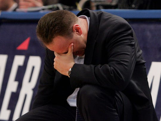 Then-Seton Hall head coach Bobby Gonzalez reacts on