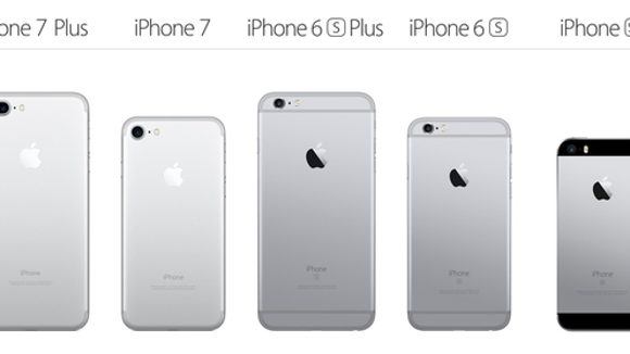 A comparison of some Apple iPhones including, from left, iPhone 7 Plus, iPhone 7, iPhone 6s Plus, iPhone 6s and iPhone SE.