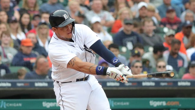 Detroit Tigers first baseman Miguel Cabrera grounds out in the sixth inning Sunday, June 10, 2018, at Comerica Park.