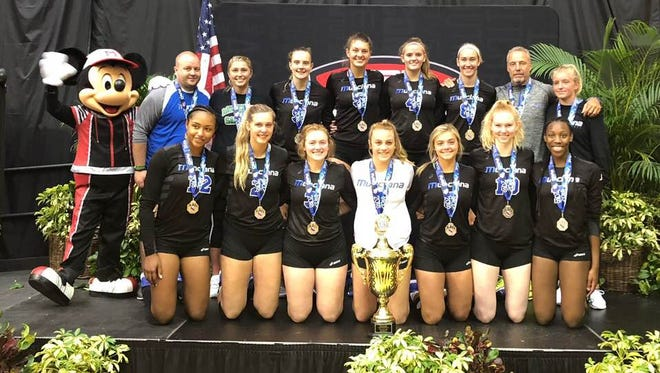 The Munciana 18 Open Samurai pose with their trophy after finishing as national runners-up.