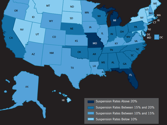 Suspension rates for black students around the country