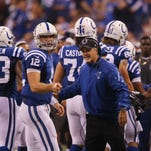 Colts coach Chuck Pagano was all smiles with quarterback Andrew Luck after tight end Jack Doyle's touchdown in the second quarter. Indianapolis hosted Philadelphia for Monday Night Football on Monday, September 15, 2014 at Lucas Oil Stadium.