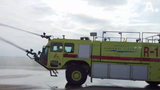 During Abilene Academy's tour of Abilene Regional Airport, participants got to see one of two large fire trucks at the airport in action.