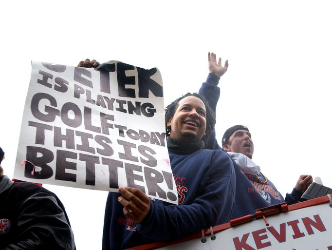 <p>Manny Ramirez was named MVP of the 2004 World Series, the first championship for the Red Sox since 1918. Boston swept St. Louis in four games.</p>