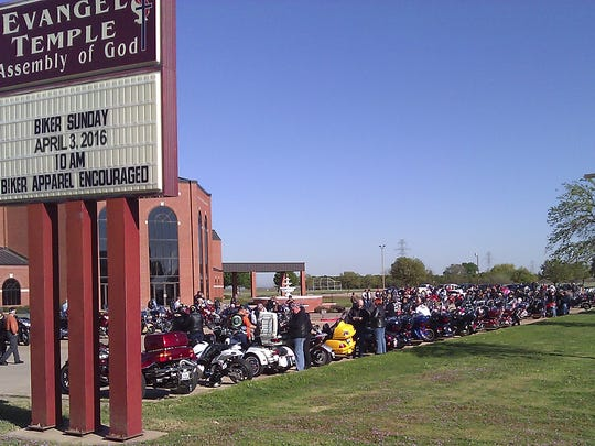 Riders line up outside of Evangel Temple at last year's Compassion Run. This is the 12th year for the event that benefits Straight Street. Between 200 and 300 riders from more than 20 local motorcycle clubs will participate in the ride that kicks off at Red River Harley Davidson on March 25. On March 26, the riders will take a route from Union Square in downtown Wichita Falls to Evangel Temple for Biker Sunday.