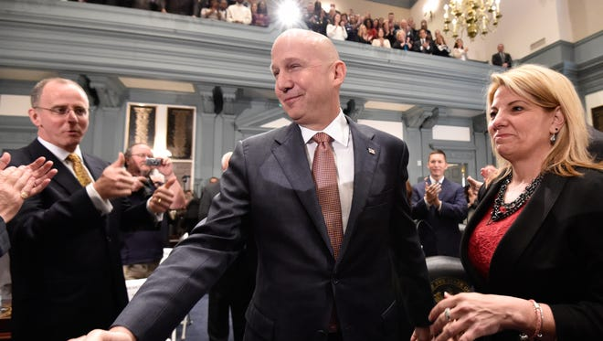 Gov. Jack Markell arrives at the Delaware Statehouse in Dover to deliver his State of the State address on Jan. 21.