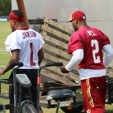 Aug. 10, 2014; Richmond, VA - Redskins Receiver DeSean Jackson (1) and Cornerback DeAngelo Hall (2) walk out for afternoon walkthrough. Hall injured his back during morning practice.