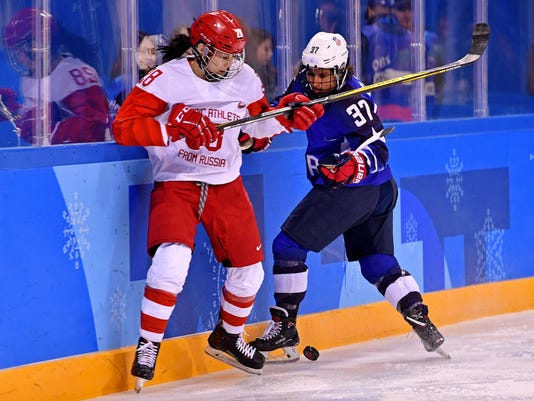 Olympics: Ice Hockey-Women Team Group A - USA-RUS