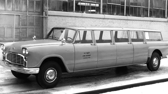 The Checker Aerobus could hold 15-passengers and was produced during 1962 to 1977 with a 189-inch wheelbase and eight doors. Shown is a U.S. Navy eight-door Aerobus in front of the Kalamazoo, Michigan, production plant.