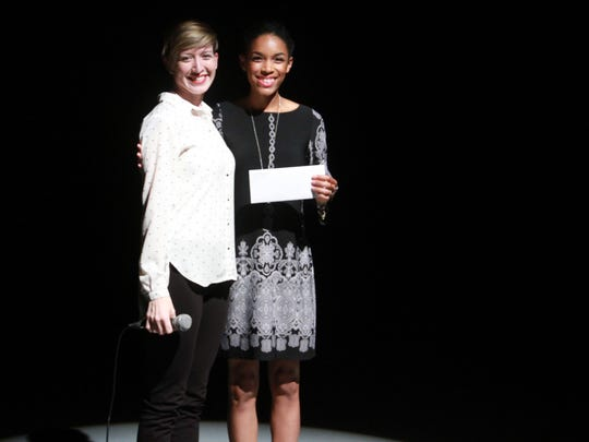 Emily Wright, left, with scholarship recipient Lauren Ashlee Small.