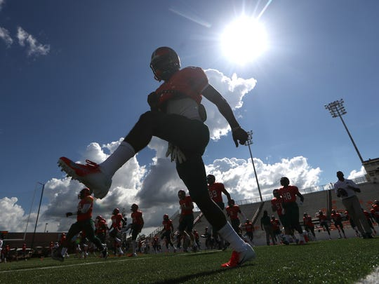 Pregame scene under sizzling temperatures at Bragg Memorial Stadium for FAMU-Fort Valley State. The start time for this week's game versus Savannah State has been pushed back to 6 p.m. due to a heat advisory.