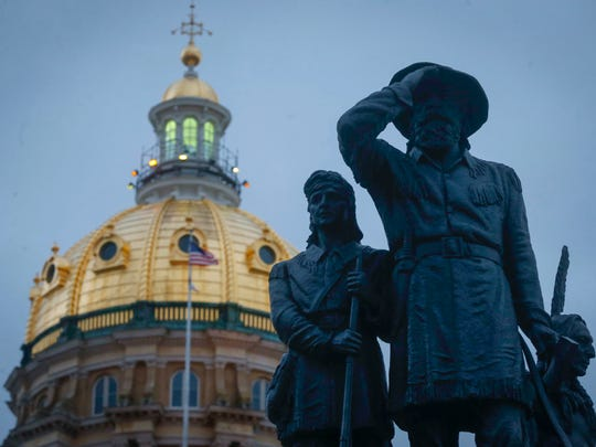 The gold dome of the Iowa state capitol building.