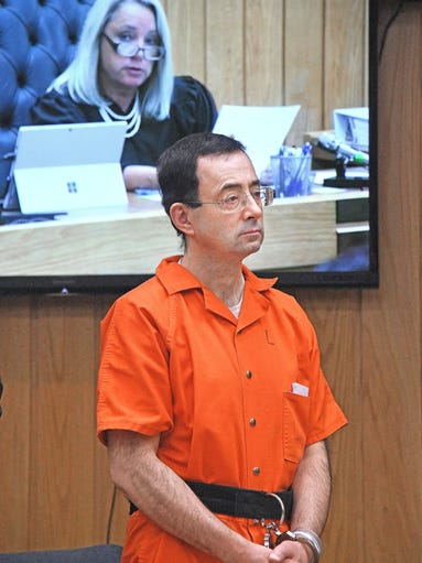 Dr. Larry Nassar appears in the court of Judge Janice
