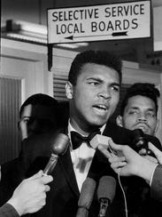 Muhammad Ali at the draft board office in Louisville,