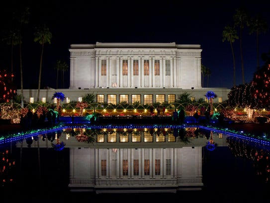 The Mesa Arizona Temple Gardens are decorated for the