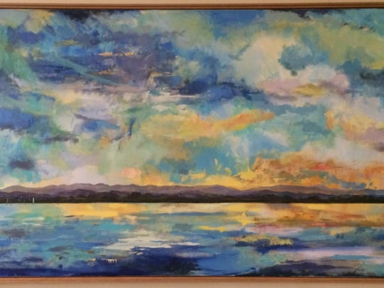 """The second part of the painting named """"Panoramic Sky over Shelburne Bay."""""""