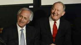 U.S. Sen. Bob Corker, left, and U.S. Sen. Lamar Alexander