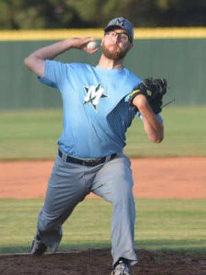 Hutchinson Monarch pitcher Preston Snavely threw four shutout innings, allowing three hits with a walk and four strikeouts in a 6-4 win over Newton.