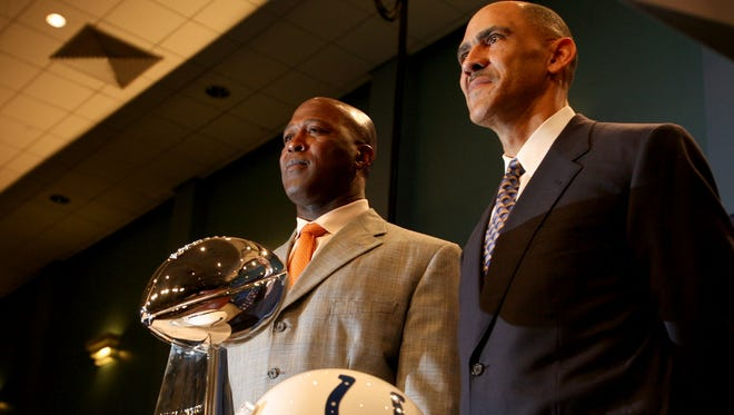 Lovie Smith, left, and Tony Dungy coached against each other in Super Bowl XLI.