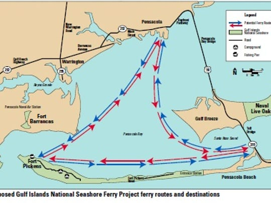 Ferry service routes