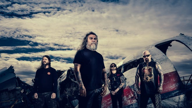 Metal band Slayer, with (left to right) Paul Bostaph, Tom Araya, Gary Holt, Kerry King