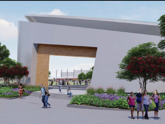 A permanent stage, proposed for Lansing's Adado Riverfront Park, would have pedestrian access to a path along the Grand River. The firm SmithGroupJJR submitted designs to the city this month.
