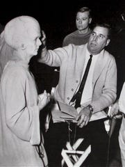 "Gene Roddenberry on the set of the ""Star Trek"" pilot episode, ""The Cage,"" in 1966"