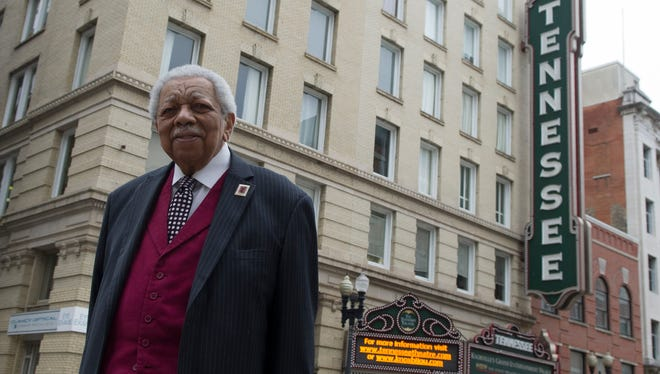 Beck Cultural Exchange Center Executive Director Avon Rollins on Gay Street outside the Tennessee Theatre on Friday, April 26, 2013. Rollins was a leader of the sit-ins that desegregated the Tennessee and Bijou theaters along with downtown lunch counters.