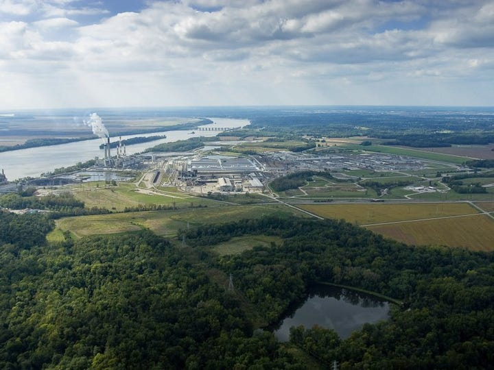 Courtesy Alcoa   Aerial - Located along the Ohio River near Yankeetown, Warrick Operations is celebrating 50 years of continuous operation in this community in 2010. This aerial picture is facing eastward.