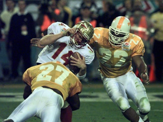 Tennessee's Al Wilson (27) sacks Florida State quarterback