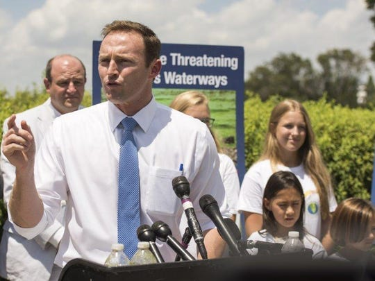 U.S. Rep. Patrick Murphy, of Florida, speaks on the next steps to fight the algae problem during the Lagoon-Gulf action day on Thursday in Washington D.C.