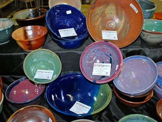 Empty Bowls is a fundraiser for the Marion-Polk Food Share featuring handcrafted pottery available for purchase.