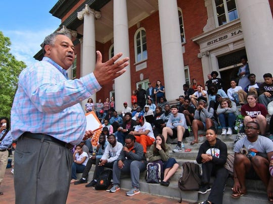Ken Ruinard/Independent Mail file photo Max Allen, Chief of Staff for Clemson University President Jim Clements, helped lead talks with student protesters during the Sikes Sit-In in April. The standoff ended after eight days, when administrators agreed to setting timetables for the university's diversity and inclusion efforts.